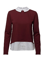 onlCALLY L/S COLLAR TOP - CHOCOLATE TRUFFLE