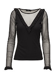 onqVICTORIAL/S FRILL BLOUSE JRS - BLACK