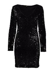 onlCONFIDENCE L/S  BODYCON DRESS JRS - BLACK
