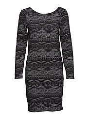 onlVIGGA ZIGZAG L/S DRESS JRS - BLACK