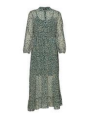 onlLUCIA DITZY LONG L/S DRESS WVN - DARK GREEN