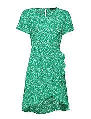 ONLNOVA LUX FRILL DRESS AOP 5 WVN - FERN GREEN
