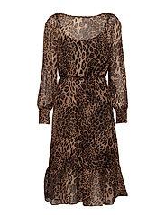 onlLOUI L/S LEO BELT DRESS WVN - BLACK