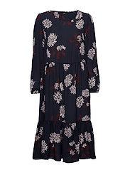 onlVICTORIA L/S DRESS WVN - NIGHT SKY