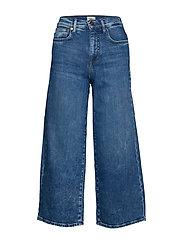 Onlmadison Hw Wide Crop Dnm Jeans Rea Vide Jeans Blå ONLY