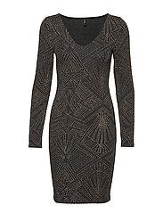 ONLSHINE L/S V-NECK BODYCON DRESS JRS - BLACK
