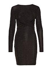 ONLQUEEN L/S GLITTER TWIST DRESS JRS - BLACK