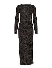 ONLSHINE L/S SLIT DRESS JRS - BLACK