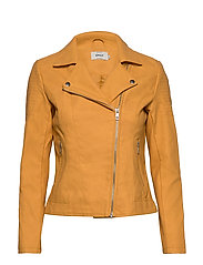 ONLMELANIE FAUX LEATHER BIKER CC OTW - GOLDEN APRICOT