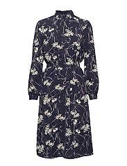 ONLNOVA LUX AOP SMOCK HIGH DRESS 8 WVN - BLACK