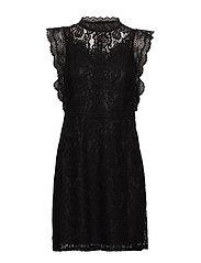 ONLKARO S/L LACE ABOVE KNEE DRESS WVN - BLACK