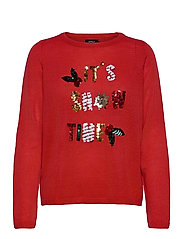 ONLXMAS JOLLY L/S PULLOVER KNT - HIGH RISK RED