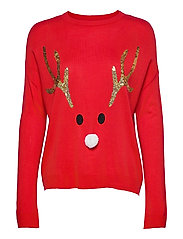 ONLXMAS REINDEER L/S PULLOVER KNT - HIGH RISK RED