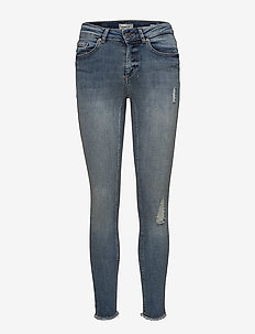 ONLBLUSH LIFE MID SK ANK RAW REA333NOOS - jeans skinny - light blue denim