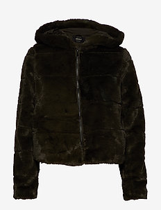 ONLCHRIS FUR HOODED JACKET OTW NOOS - FOREST NIGHT