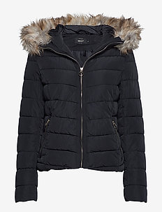 onlNEW ELLAN QUILTED FUR HOOD JACKET OTW - BLACK