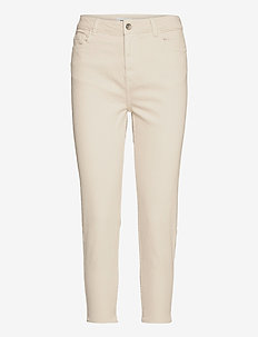 ONLEMILY  LIFE HW ST RAW CRPANK COL - straight jeans - ecru