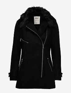 ONLCAROL WOOL FUR  BIKER COAT CC OTW - BLACK
