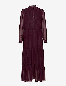 ONLDAPHINE L/S ANCEL SHIRT DRES WVN - sukienki do kolan i midi - merlot