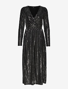 ONLREBECCA L/S GLITTER MAXI DRESS JRS - BLACK