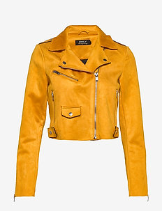 ONLSHERRY CROP  BONDED BIKER CC OTW - leather jackets - golden yellow