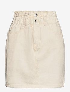 ONLMILLIE LIFE HW MINI PAPER SKIRT - jeansrokken - ecru
