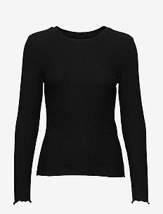 ONLNELLA L/S O-NECK TOP JRS - BLACK