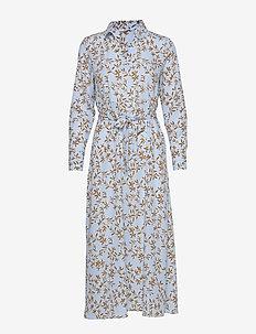ONLALMA POLY L/S SHIRT DRESS AOP WVN - skjortekjoler - cashmere blue