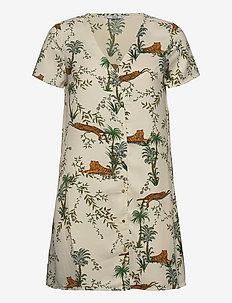 ONLELVINA S/S SHORT DRESS WVN - krótkie sukienki - transparent yellow