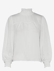 ONLRUBIA L/S SMOCK TOP WVN - long sleeved blouses - cloud dancer
