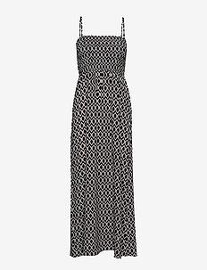 ONLNOVA LUX S/L SMOCK MAXI DRESS AOP WVN - maxi sukienki - black