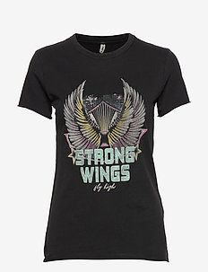 ONLLUCY LIFE FIT S/S WINGS TOP ACID JRS - BLACK