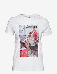 ONLCOKE LIFE REG S/S RETRO TOP BOX JRS - t-skjorter med trykk - bright white