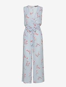 ONLNOVA LUX S/L WRAP JUMPSUIT AOP WVN - jumpsuits - cashmere blue