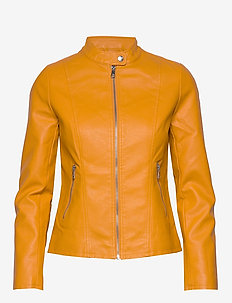 ONLMELISA FAUX LEATHER JACKET CC OTW - leather jackets - golden yellow