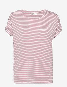ONLMOSTER STRIPE S/S O-NECK TOP JRS - t-shirts - soft pink