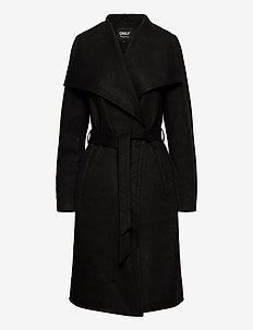 ONLNEWPHOEBE DRAPY COAT CC OTW - trenchcoats - black