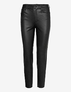 ONLEMILY HW ST ANK FAUX LEATHER PNT NOOS - spodnie skórzane - black