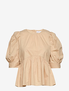 ONLKARLA S/S PUFF SLEEVE TOP WVN - WARM SAND