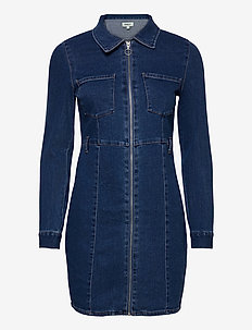 ONLPHILLY  LIFE ZIPPER DNM DRESS QYT - shirt dresses - medium blue denim