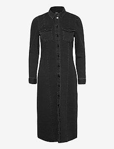 ONLMETTE BLACK LIFE LS PUF DNM DRESS QYT - midi kjoler - black