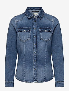 ONLROCK IT LIFE L/S DNM SHIRT BB BJ560 - jeansblouses - light blue denim