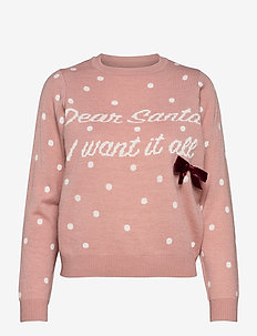 ONLXMAS BOW L/S PULLOVER KNT - pulls - misty rose