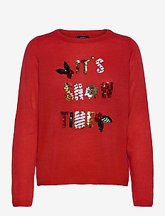 ONLXMAS JOLLY L/S PULLOVER KNT - trøjer - high risk red