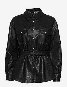 ONLKENDRA FAUX LEATHER SHACKET OTW - leather jackets - black
