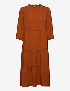ONLNOVA LUX 3/4 FRILL LONG DRESS SOLID 2 - maxikjoler - ginger bread