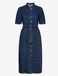 ONLCLARITY LIFE SS PUFF DNM MAXI DRESS - skjortekjoler - dark blue denim
