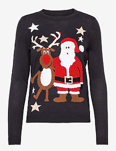 ONLXDEER FRIENDS L/S PULLOVER KNT - trøjer - night sky