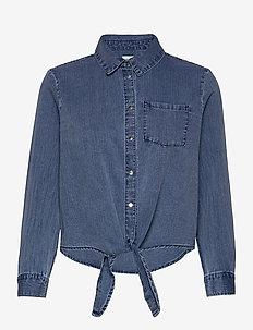 ONLLECEY LS KNOT DNM SHIRT QYT - jeansblouses - medium blue denim