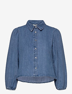 ONLHILMA LIFE 3/4 SL DNM SHIRT  BJ - long-sleeved shirts - medium blue denim